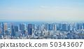 東京風景2019年春天以高輪門戶站為中心的全景城市風景 50343607