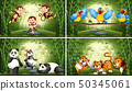 Set of animal in bamboo forest 50345061