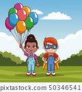 Cute kids with balloons 50346541