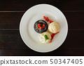 chocolate lava cake set with ice cream  50347405