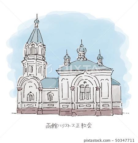 函館Hallistos東正教教會例證北海道旅遊勝地 50347711