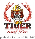 Tiger head hand and fire - vector illustration 50348147