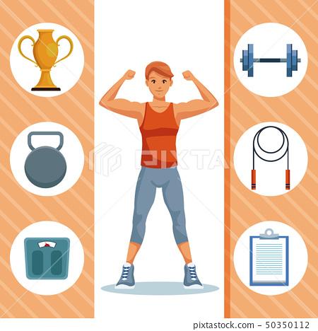Fitness man cartoon 50350112