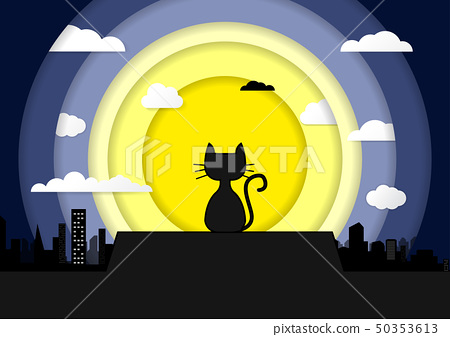 Cat sitting on a roof background of the moonlight 50353613