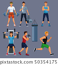 Set of people and gym equipment 50354175