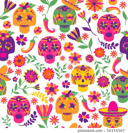 Dia de los muertos seamless vector pattern. The 50354567