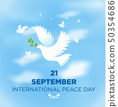 Peace dove with olive branch for International 50354686