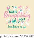 World breastfeeding week and kids elements flat 50354707