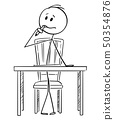 Cartoon of man Sitting Behind Desk and Thinking with Pencil in Mouth 50354876