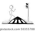 Cartoon of Man Walking on Pedestrian Crossing or Crosswalk while Green Light is On on Stoplights 50355788
