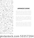 Japanese Cuisine Banner Template with Place for Text and Asian Food Hand Drawn Pattern, Card 50357264