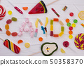 CANDY word made of colorful sweets. 50358370