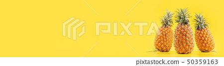 鳳梨黃色背景水水果夏天菠蘿水果夏天夏天菠蘿 50359163