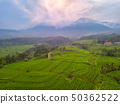 Rice Terraces and Fog in the Mountains. Aerial 50362522
