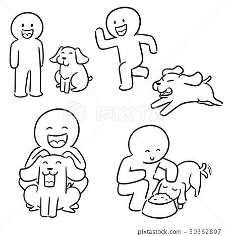 vector set of man and dog 50362897