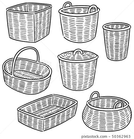vector set of wicker basket 50362963