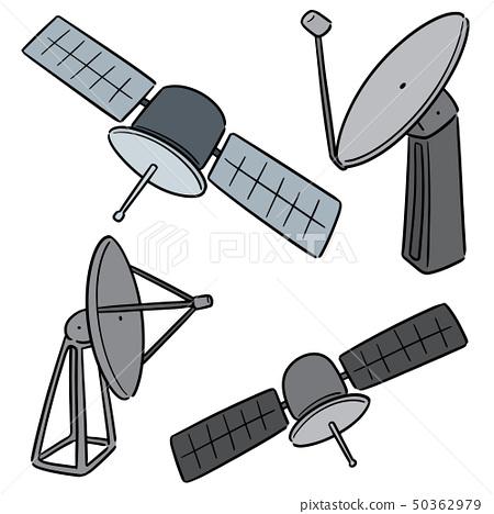 vector set of satellite and satellite dish 50362979