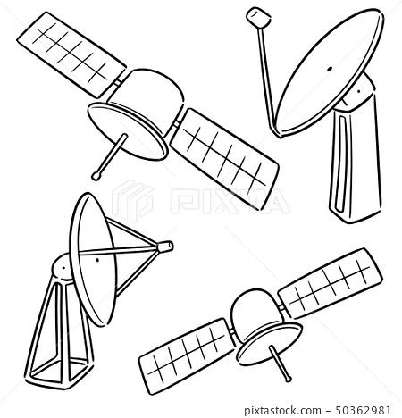 vector set of satellite and satellite dish 50362981