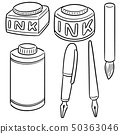 vector set of ink, brush and fountain pen 50363046