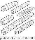 vector set of wooden timber 50363083
