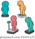 vector set of people on weighing machine 50363125