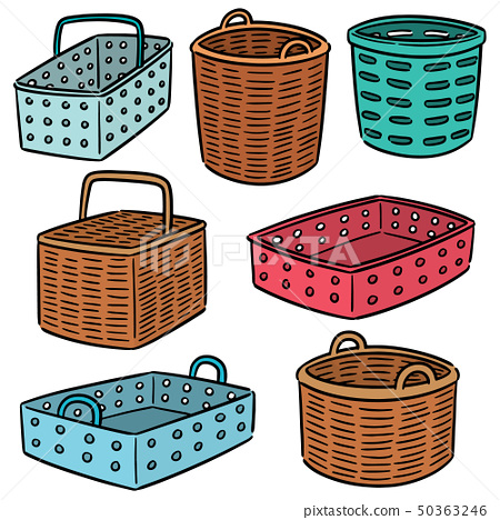 vector set of plastic and wicker basket 50363246