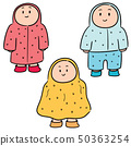 vector set of people in raincoat 50363254