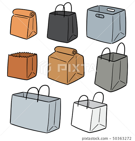 vector set of paper bag 50363272