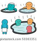 vector set of people bathing in hot water pool 50363351
