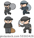 vector set of thief 50363426