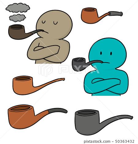 vector set of smoking pipe 50363432