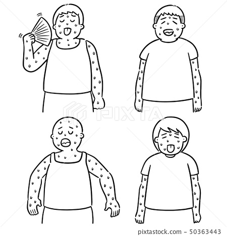 vector set of people in hot weather 50363443