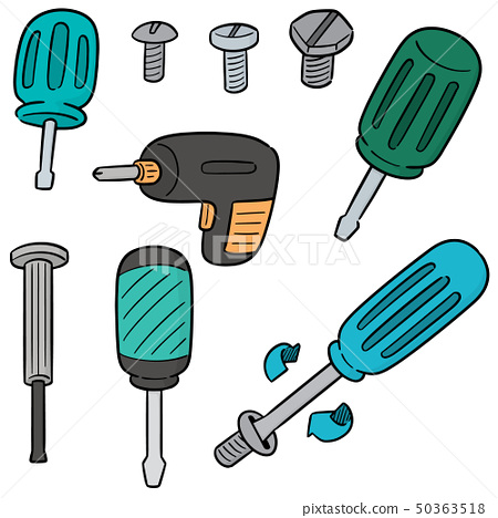 vector set of screw and screwdriver 50363518