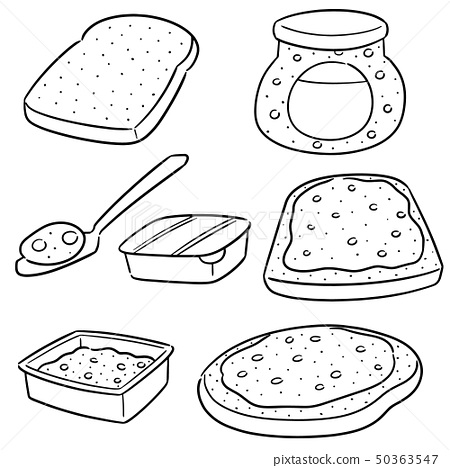 vector set of jam and bread 50363547