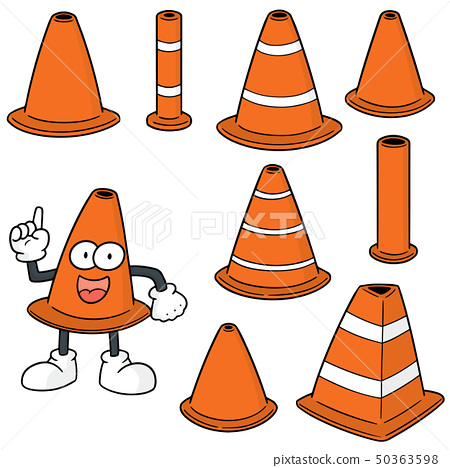 vector set of traffic cone 50363598
