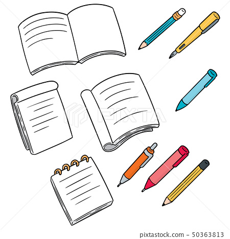 vector set of notebook, pen and pencil 50363813
