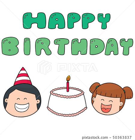 vector set of happy birthday 50363837