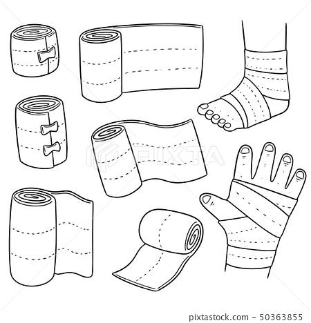 vector set of medical bandage 50363855