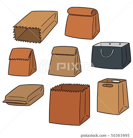 vector set of paper bag 50363995