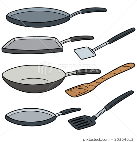 vector set of pan and flipper 50364012