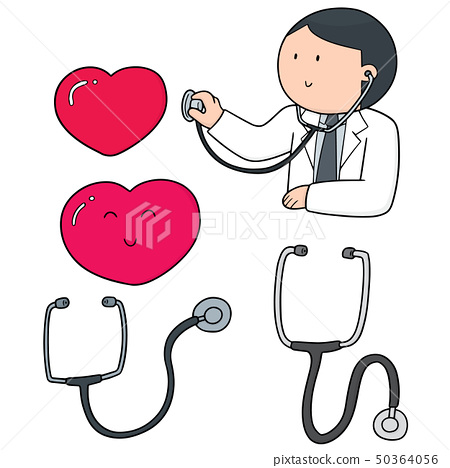 vector set of doctor, stethoscope and heart 50364056