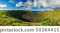 Whole Rano kau volcanic crater panoramic view 50364415