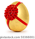 Realistic golden egg tied a red ribbon with a bow 50366001