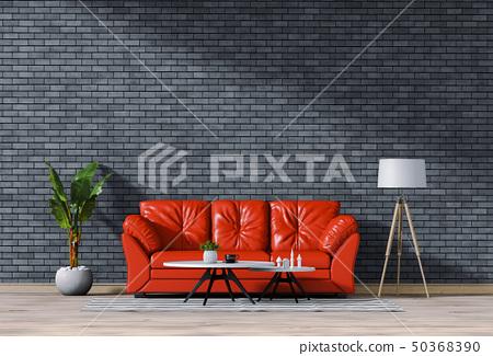interior living room wall bricks with sofa 50368390