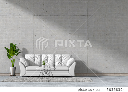 interior living room wall concrete with sofa 50368394