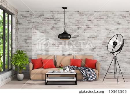 Interior living room and park landscape 50368396