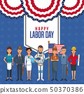Happy labor day card Man head faceless with sport headband scribble 50370386