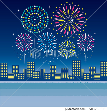 Fireworks Night view Building group 50373962