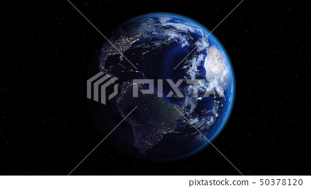 Planet Earth with city lights in space with stars. 50378120