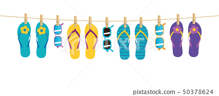 colorful pattern flip flops and sunglasses hanging on a rope on white background 50378624